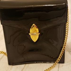 Vintage Susan Gail Patent Leather Purse Gold Chain